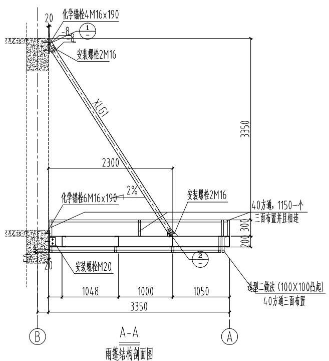 注:此方案为设计方案不作为施工依据。  青龙桥社区钢结构雨棚做法说明: 1、灯为普通射灯,布局为两排 2、次梁做法:所有次梁与主梁梁连接,现场焊接。 3、做造型一和造型二采用40方管,现场焊接。 4、顶面找坡采用用水泥砂浆找坡,坡度百分之二。 5、顶面铺钢板靠墙起边100mm,如图所示.
